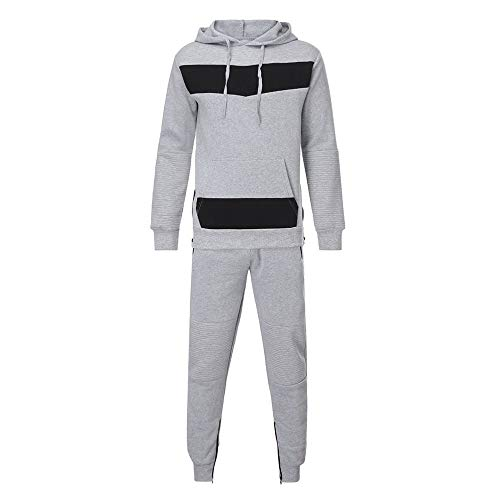 Warriors Back Patch Set - GOVOW Men's Patchwork Long Sleeve Button Back Autumn Zipper Sweatshirt Top Pants Sets Sports Suit Tracksuit(US:8/CN:M,Gray)