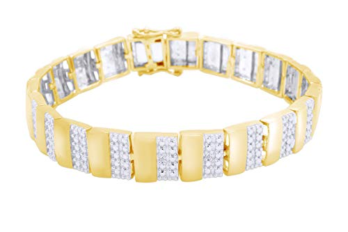 - White Natural Diamond Men's Bracelet In 14k Yellow Gold Over Sterling Silver (0.02 cttw) Father's Day Gift - 7.5