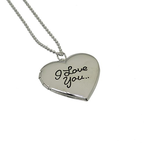 Fun Daisy Silver Tone Photo Heart Locket Pendant I Love You 18