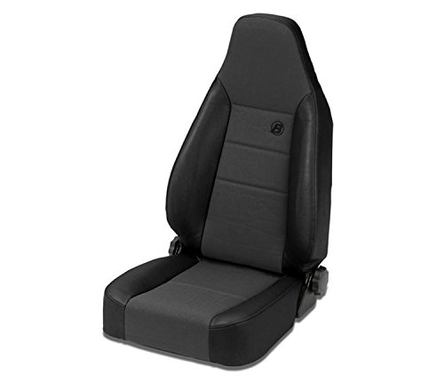 Bestop 39438-15 TrailMax II Sport Black Denim High Back Vinyl with Fabric Insert Single Jeep Seat for 1976-2006 Jeep CJ and Wrangler