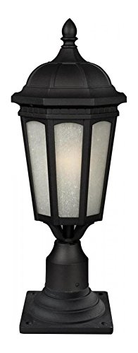 508PHM-533PM-BK Black Newport 1 Light Outdoor Pier Mount Light with White Seedy Shade