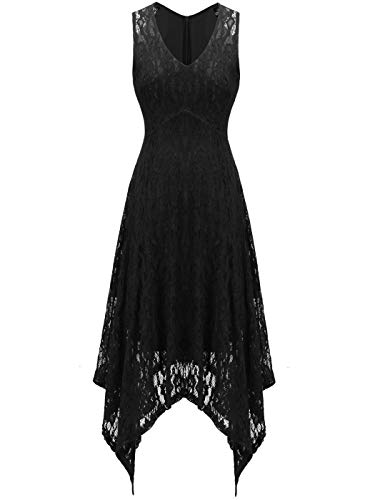 FAIRY COUPLE Women's V-Neck Floral Lace Asymmetrical Handkerchief Hem Cocktail Party Dresses DL022C(2XL,C Black) ()