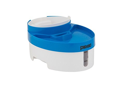 Plixio Pet Fountain and Food Bowl Feeder for Dogs and Cats – 100oz Drink Fountain with Filter