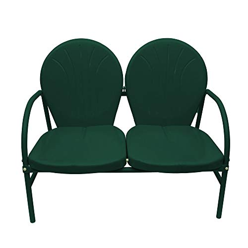 Rich Pacific Hunter Green Retro Metal Tulip 2-Seat Double Chair