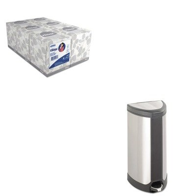 KITKIM21271SAF9687SS - Value Kit - Safco Step-On Waste Receptacle (SAF9687SS) and KIMBERLY CLARK KLEENEX White Facial Tissue (KIM21271)