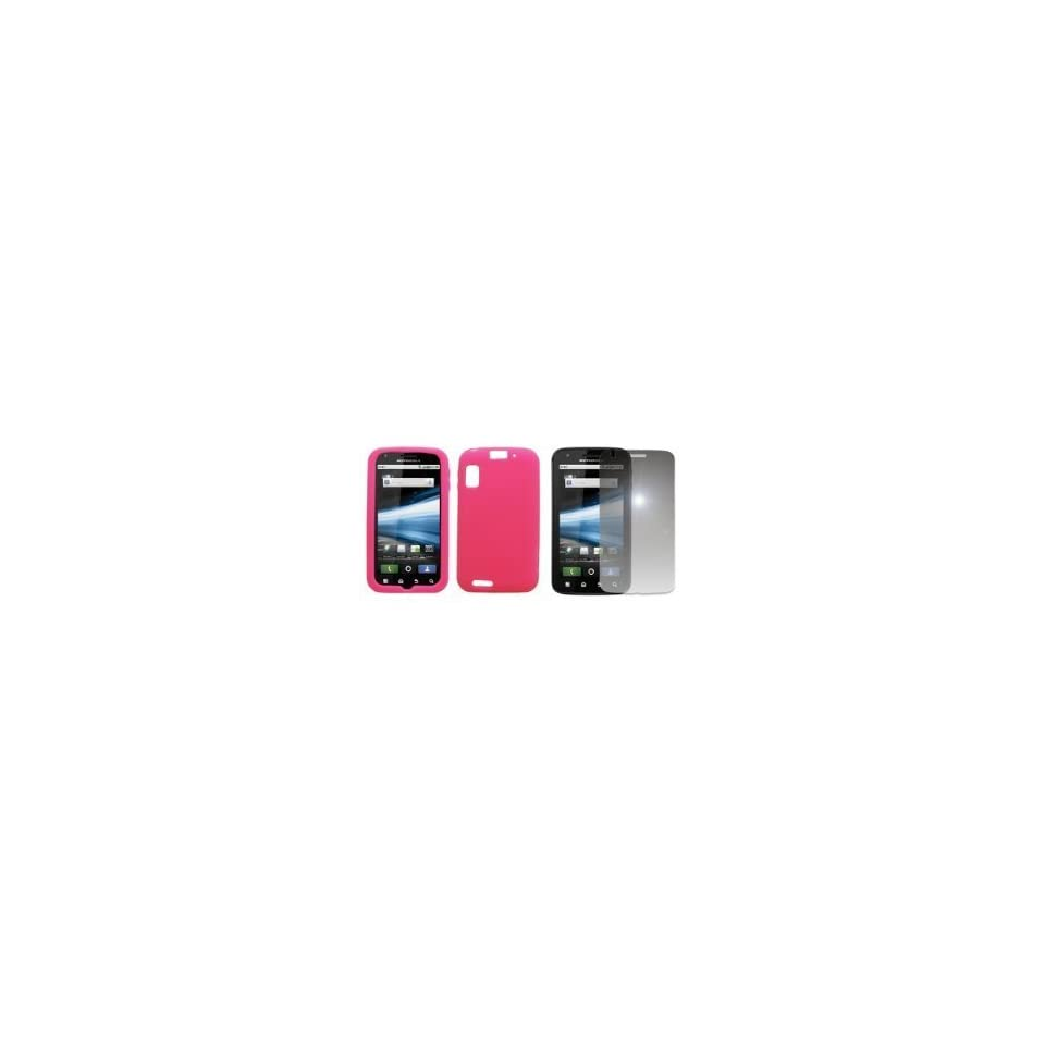 Hot Pink Silicone Skin Case Cover + Mirror Screen Protector for AT&T Motorola Atrix 4G