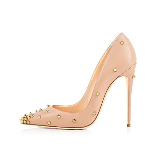 US Pumps Classic FSJ with Prom Heels Pointed High 4 Nude Size Women's Shoes Rivets Toe 15 Stilettos IHZZqg