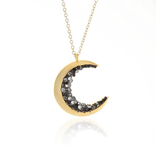 Laonato Crescent Moon and Black CZ Necklace (Crystal Moon Necklace)