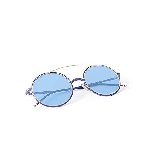 retros NIFG Blue marco redondo de Forme las grandes UV gafas sol de los la de del protección de para sol las del hombres gafas color aSazqxrw