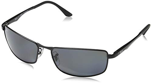 Ray-Ban Men's RB3498 Rectangular Metal Sunglasses, Matte Black/Polarized Grey Gradient, 61 mm