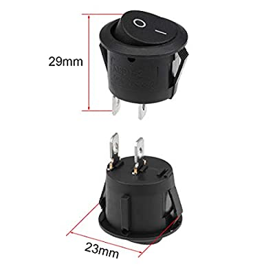 uxcell Mini Boat Rocker Switch With Waterproof Case Black Round Toggle Switch for Boat Car Marine ON/OFF AC 250V/10A 2pcs: Home Improvement