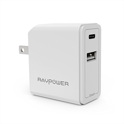 USB C Wall Charger RAVPower 24W Dual Type C Travel USB Charger 5V/3A Fast iSmart Charger Compatible Nintendo Switch, Google Pixel XL, Galaxy S9 S8 Note 8 and  iPhone Xs XS Max XR X 8 7 Plus-White