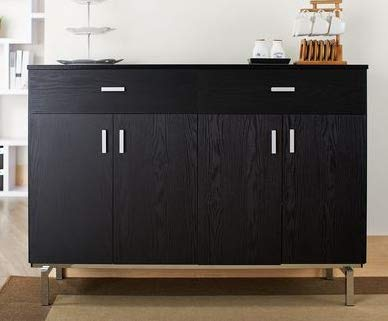 Dark Wood Mirrored Credenza : Amazon.com sideboard buffet storage cabinet black wood chrome