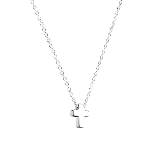 Petite Cross Necklace for Minimalist Christian Style - Silver - for girls & women - Great Easter & Christmas Gift Jet Cross Necklace