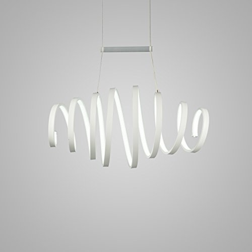 Unitary Brand Modern White Acrylic Spiral Shape Nature White LED Pendant Light with Max 30W Painted Finish