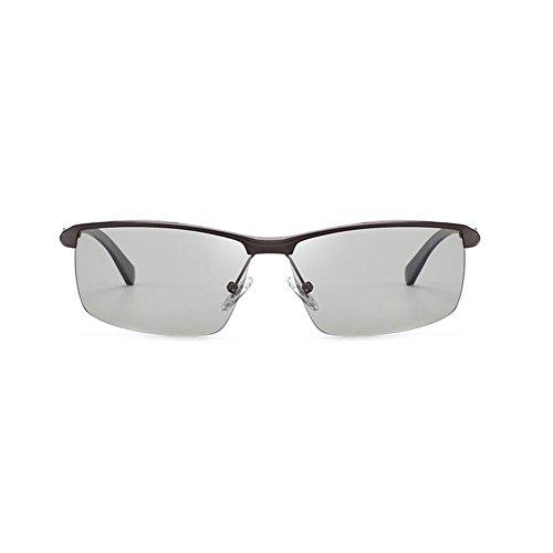 100 Protección De Polarizada Decoloración Luz Conducción Color Sol Clásico Gafas Gafas Medio Marco 2 Protección Libre Inteligente 1 UVA De Black Hombres WYYY Gray Gafas Aire UV Solar Anti T5qzg