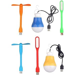 Gadget Deals Portable Flexible Combo of 2 USB Wired Bulb, 2 USB Led Light, USB Fan (Multicolor)