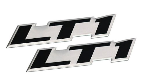 2 x (pair/set) LT1 Embossed BLACK on Highly Polished Silver Real Aluminum Auto Emblem Badge Nameplate for GM General Motors Performance Chevy Chevrolet Corvette C4 Camaro B4C SS Caprice Police ()