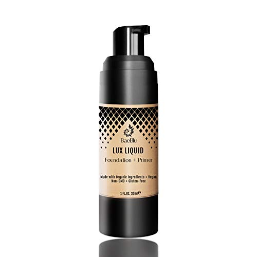 BaeBlu Organic Aloe-Based LUX Liquid Foundation, Natural Vegan Gluten-Free Made in USA, Nutmeg