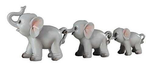 StealStreet 54491 Trail of Grey Elephants Family Decorative Figurines, Set of 3