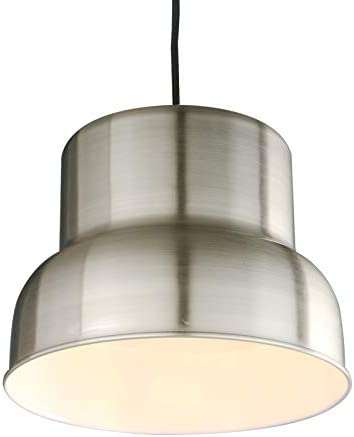 PERMO Modern Industrial Barn Farmhouse Kitchen Island Pendant Light Fixture with 11inch Brushed Nickel Metal Shade