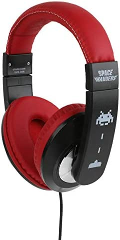 Space Invaders Kid Safe Over-Ear Headphones HP1-21714 W Volume Limiter by Sakar, Adjustable Headband, Comfortable Ear Cups, Cushioned Ear Pieces, Audio, Red Black