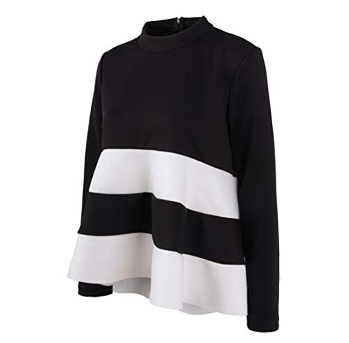 Femmes Respirant T Coton Manches Shirt Et Automne Loose Mode Printemps Doux Longues Et Hem Ruffle Vtements Manteau Femme Noir Espace Couture Blanc Femme 4pFYtnwnzq