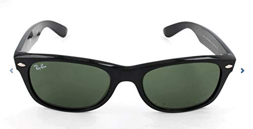 Ray-Ban RB2132 New Wayfarer Polarized Sunglasses, Black/Polarized Green, 52 mm (Ray Ban Eyeglasses Made In Italy)