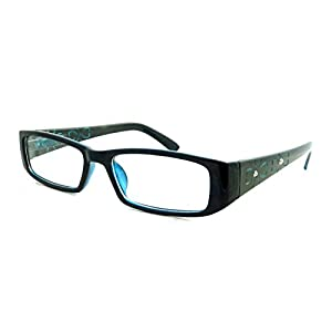 ITALY Design Fashion Rx Women Rectangular Frame Clear Lens Eye Glasses FLORAL BLUE