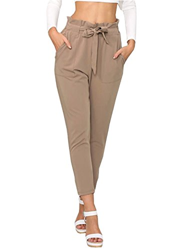 air-SMART Women Pencil Pants Slim Casual Pants High Waist With Cord (XL, Khaki) (Pant Cord Skinny)