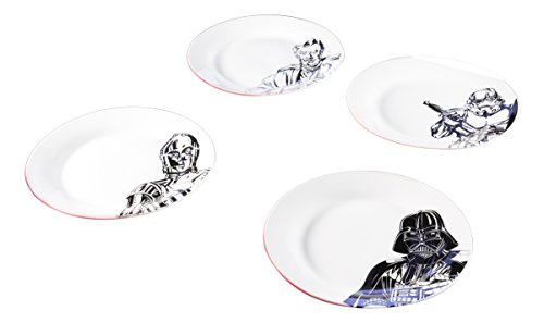Zak Designs C3P0, Stormtrooper, Darth Vader & Obi-Wan Kenobi Ceramic 10.5″ Plates, 4 pack set, Unique Black and White Designs, Star Wars Ep4 7.5in 4pc