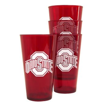 Boelter Brands Ohio State Buckeyes Plastic Pint Glass Set - Buckeyes Ohio State Beverage