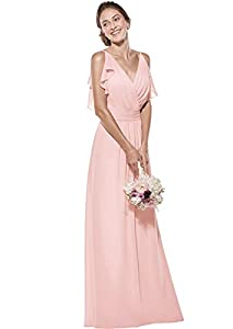 Zhongde Women's Double V Neck Spaghetti Straps Chiffon Bridesmaid Dress Long Formal Evening Gown