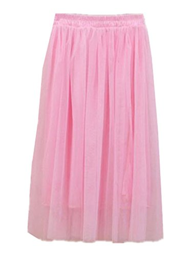 Haililais Femme Tulle Jupe Tendance Jupe Longue BohMe Big Swing Jupe en t Couleur Unie Skirt Lache Femelle Jupe Beau Jupe Pink