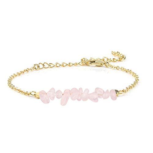 Jeka Rose Quartz Crystal Bracelet for Women Girls Natural Gemstone Pink Stone Bar 18K Gold Chain Jewelry Dainty Gifts for Valentine's Day Birthday