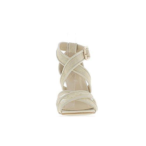 Tacco 9cm di sandali beige del pizzo grande