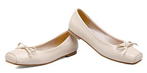 Aisun Donna Carino Comoda Punta Squadrata Abito Taglio Basso Slip On Flats Driving Shoes Con Fiocchi Beige