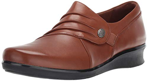 Clarks Women's Hope Roxanne Loafer, Dark tan Leather, 8 M US