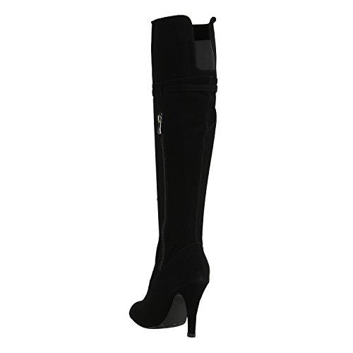 Stiefelparadies Damen Overkness Denim Stiefel Peeptoes Stiletto Blockabsatz Schuhe Langschaftstiefel Used Look High Heels Jeans Denim Flandell Schwarz Schnallen