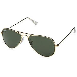 Ray-Ban RB3044 L0205 Aviator Classic Non-Polarized Sunglasses, Arista/Crystal Green, 52 mm