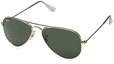 Ray-Ban RB3044 L0205 Aviator Classic Non-Polarized Sunglasses, Arista/Crystal Green, 52 mm