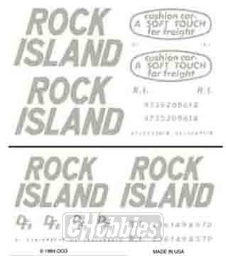 Rock Island Boxcar - Rock Island Box Car Soft Touch-DFE Dry Transfer Decals Woodland Scenics