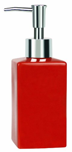 Spirella Quadro Soap Dispenser Stoneware Red Height 16.5 cm x Width 6.5 cm by