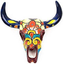 Jayde N' Grey Hand Painted Mexican Talavera Ceramic Bull Head Bull Skull Ceramic Wall Sculpture Indoor Outdoor Garden Faux Taxidermy Small 10 x 3 x 11