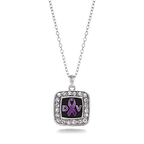 Inspired Silver - Domestic Violence Support Charm Necklace for Women - Silver Square Charm 18 Inch Necklace with Cubic Zirconia Jewelry