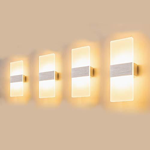 Yafido 4 stuks wandlampen voor binnen, led-wandlamp, 12 W, acryl wandverlichting, modern up-down, warmwit, 3000 K, voor…