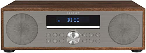 Crosley CR3501A-WA Fleetwood Bluetooth FM Clock Radio and CD Player, Walnut (Cd Player Am Fm Clock Radio)