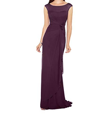 Traube Abendkleider Etuikleider Damen Chiffon Einfach Lang Brautjungfernkleider Brautmutterkleider Charmant 6f8wxqnF6