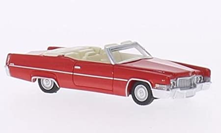 Cadillac Deville Convertible, red, 1970, Model Car,, BoS-Models 1:87