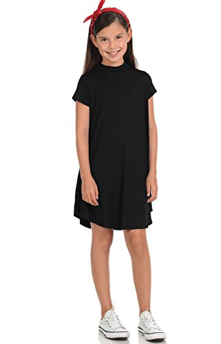 Pastel by Vivienne Honey Vanilla Girls' Flared Swing Dress with Short Sleeve and Easy Removable Label Small 5-6 Years Black